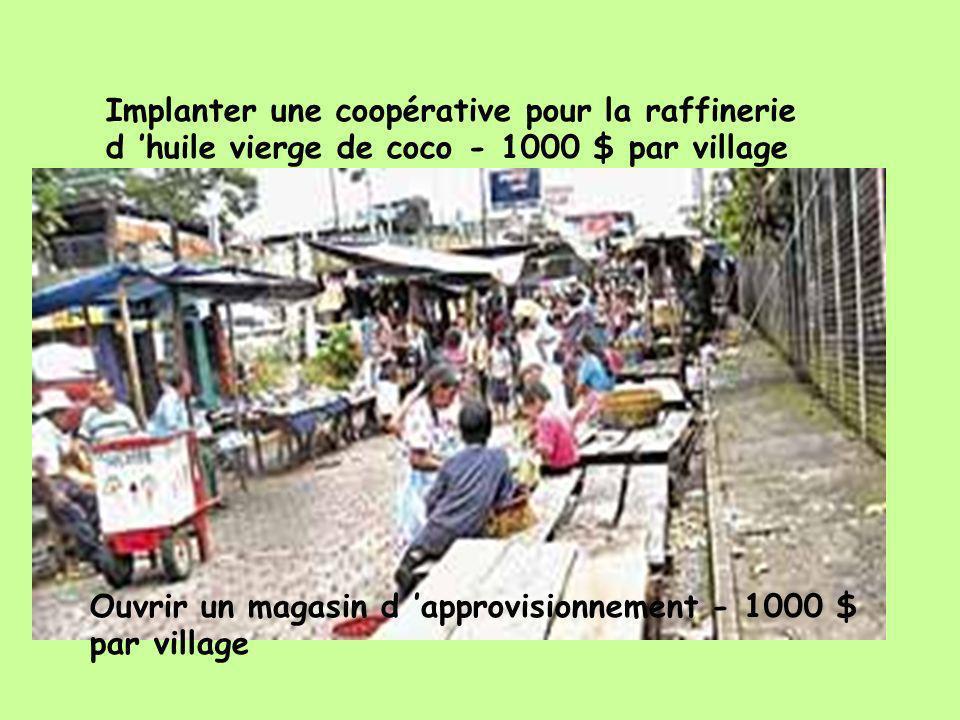 Ouvrir un magasin d approvisionnement - 1000 $ par village Implanter une coopérative pour la raffinerie d huile vierge de coco - 1000 $ par village