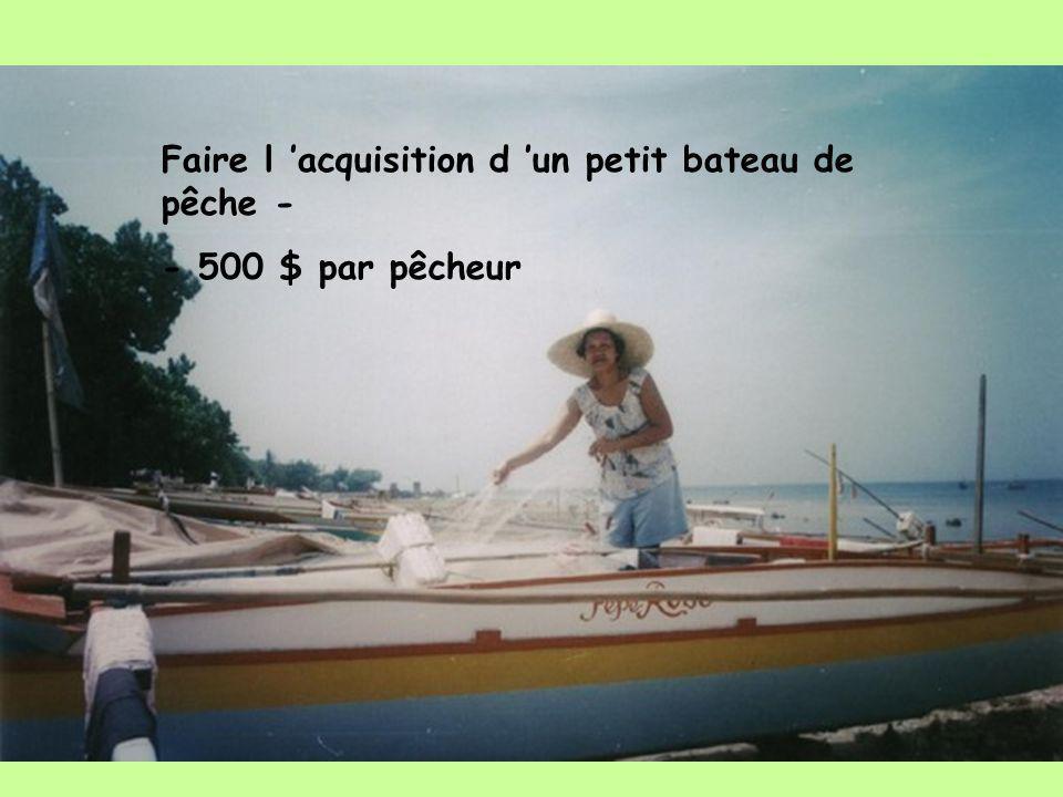 Faire l acquisition d un petit bateau de pêche - - 500 $ par pêcheur
