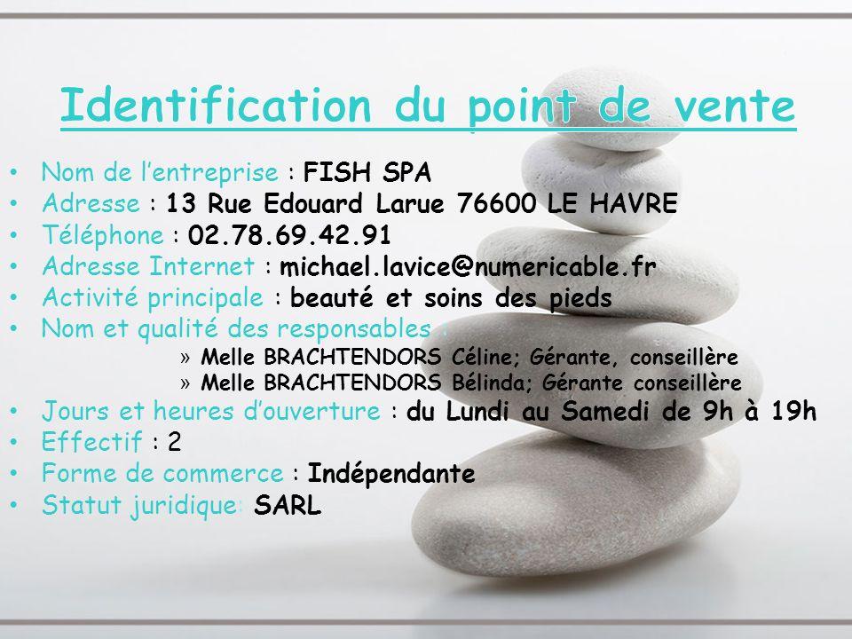 Nom de lentreprise : FISH SPA Adresse : 13 Rue Edouard Larue 76600 LE HAVRE Téléphone : 02.78.69.42.91 Adresse Internet : michael.lavice@numericable.f
