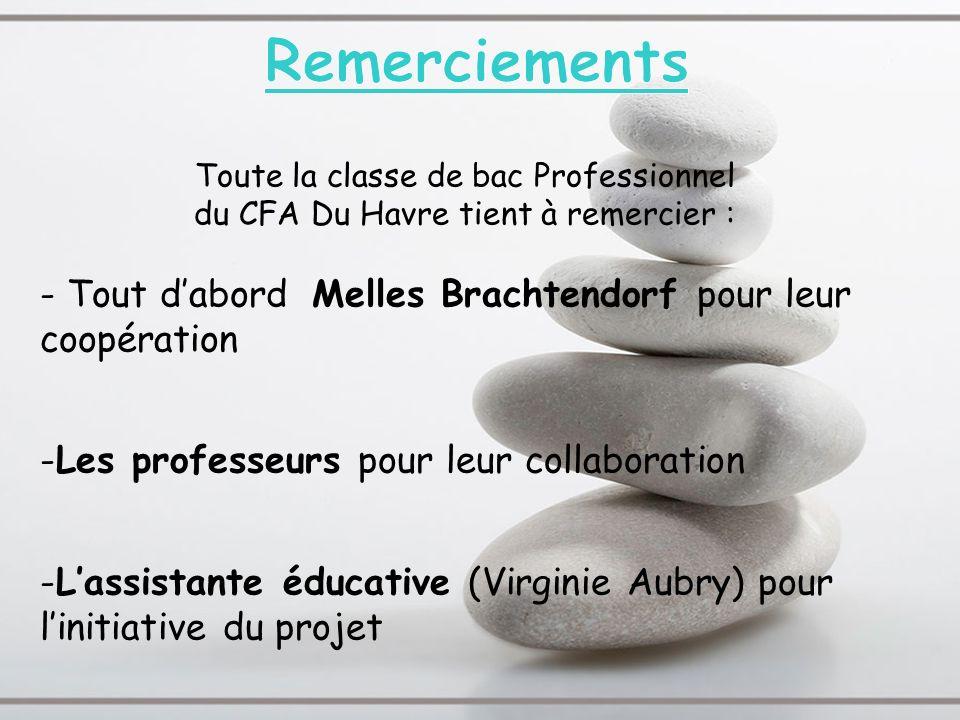 Toute la classe de bac Professionnel du CFA Du Havre tient à remercier : - Tout dabord Melles Brachtendorf pour leur coopération -Les professeurs pour