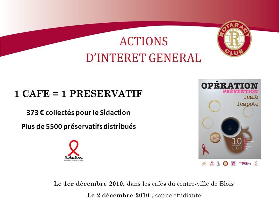 ACTIONS DINTERET GENERAL 1 CAFE = 1 PRESERVATIF 373 collectés pour le Sidaction Plus de 5500 préservatifs distribués Le 1er décembre 2010, dans les cafés du centre-ville de Blois Le 2 décembre 2010, soirée étudiante