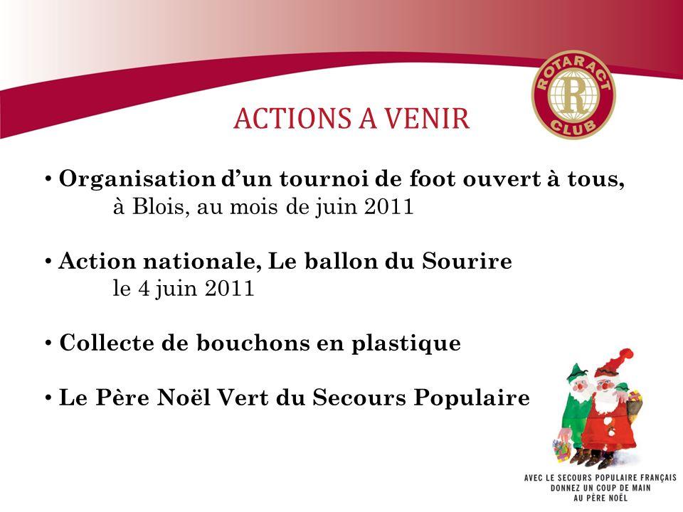 ACTIONS A VENIR Organisation dun tournoi de foot ouvert à tous, à Blois, au mois de juin 2011 Action nationale, Le ballon du Sourire le 4 juin 2011 Collecte de bouchons en plastique Le Père Noël Vert du Secours Populaire