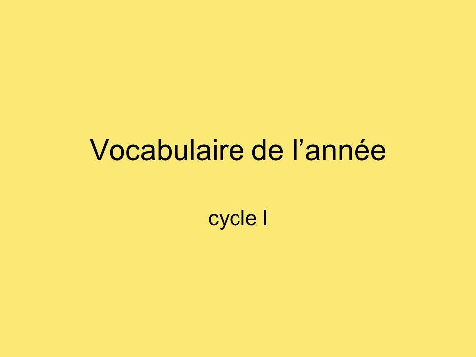 Vocabulaire de lannée cycle I