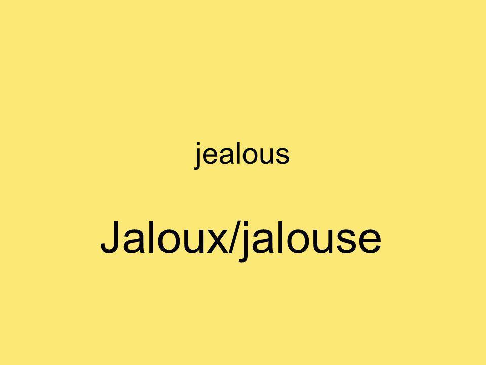 jealous Jaloux/jalouse
