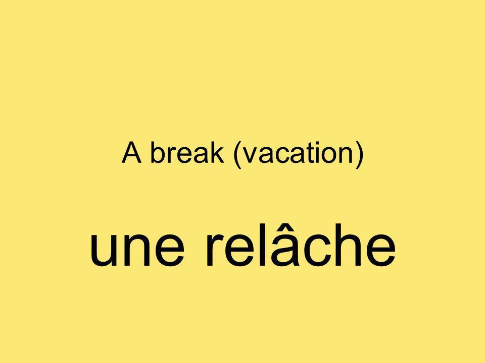 A break (vacation) une relâche