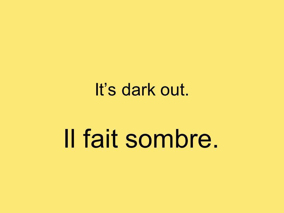 Its dark out. Il fait sombre.
