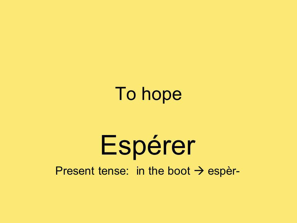 To hope Espérer Present tense: in the boot espèr-