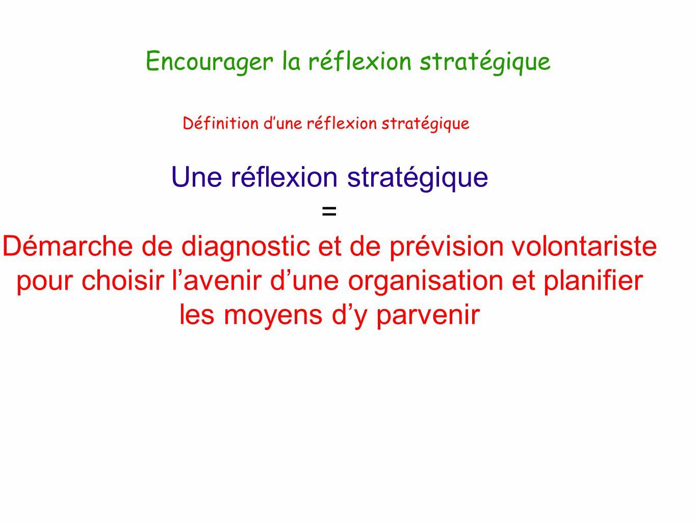 Définition dune réflexion stratégique Une réflexion stratégique = Démarche de diagnostic et de prévision volontariste pour choisir lavenir dune organi