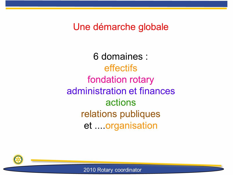 2010 Rotary coordinator Une démarche globale 6 domaines : effectifs fondation rotary administration et finances actions relations publiques et....orga