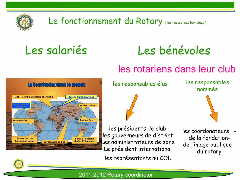 2011-2012 Rotary coordinator Les bénévoles Les salariés les rotariens dans leur club les responsables élus les présidents de club les gouverneurs de d