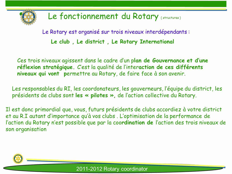 2011-2012 Rotary coordinator Ces trois niveaux agissent dans le cadre dun plan de Gouvernance et dune réflexion stratégique. Cest la qualité de linter