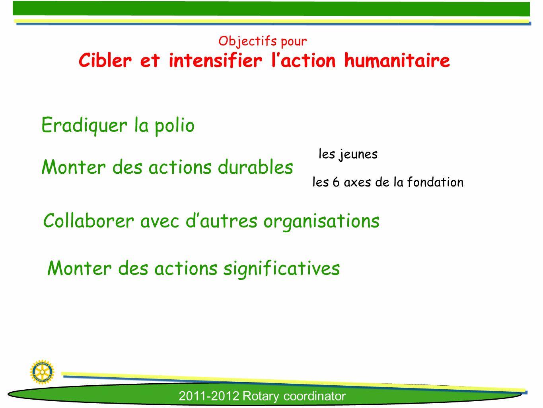 2011-2012 Rotary coordinator Objectifs pour Cibler et intensifier laction humanitaire Eradiquer la polio Monter des actions durables Collaborer avec d