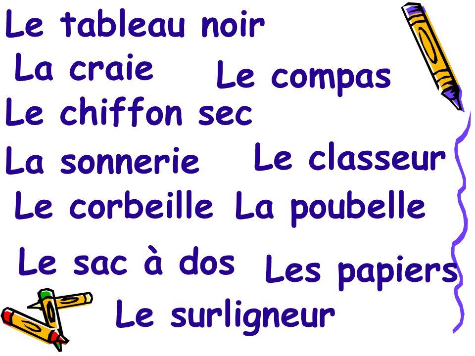 Lagrafeuse Lagrafe Le trombone Lattache parisiènne Les punaises La perforatrice Le globe terrestre Le scotch La règle