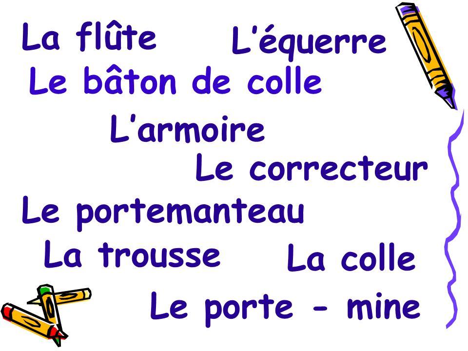 La calculette Lhorloge Le calendrier Le panneau Carte murale La table Le bureau La chaise Le rayonnage Létagère