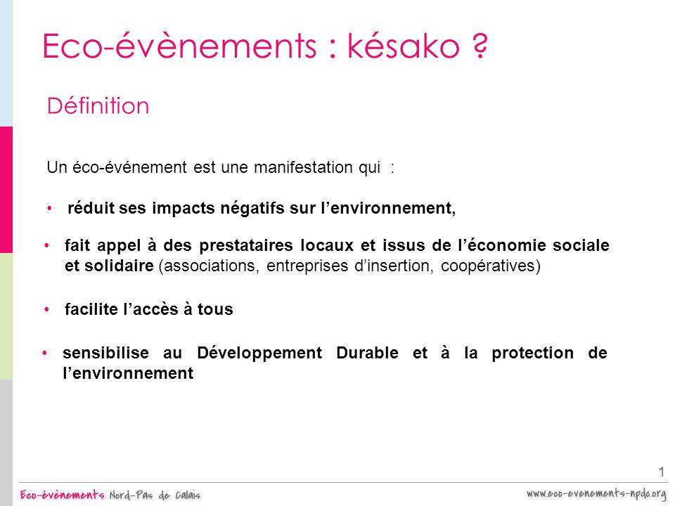 Eco-évènements : késako ? 1 Un éco-événement est une manifestation qui : Définition réduit ses impacts négatifs sur lenvironnement, sensibilise au Dév