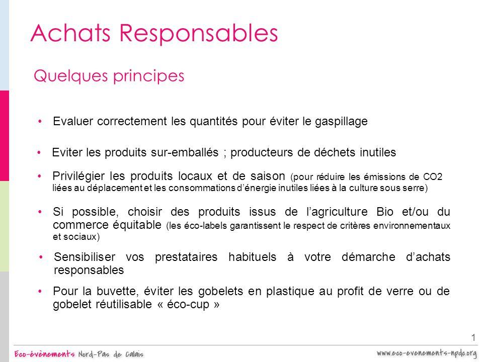 Achats Responsables 1 Quelques principes Privilégier les produits locaux et de saison (pour réduire les émissions de CO2 liées au déplacement et les c