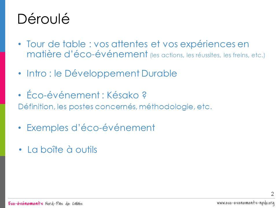 Déroulé Intro : le Développement Durable 2 Exemples déco-événement Éco-événement : Késako ? Définition, les postes concernés, méthodologie, etc. La bo