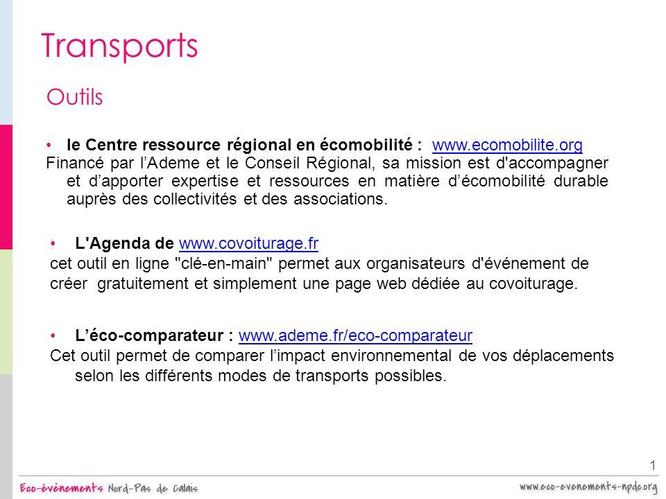Transports 1 Outils le Centre ressource régional en écomobilité : www.ecomobilite.orgwww.ecomobilite.org Financé par lAdeme et le Conseil Régional, sa