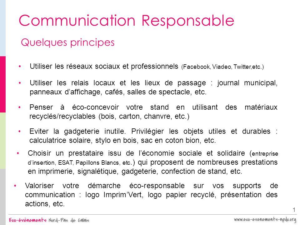 Communication Responsable 1 Quelques principes Utiliser les réseaux sociaux et professionnels (Facebook, Viadeo, Twitter,etc.) Valoriser votre démarch