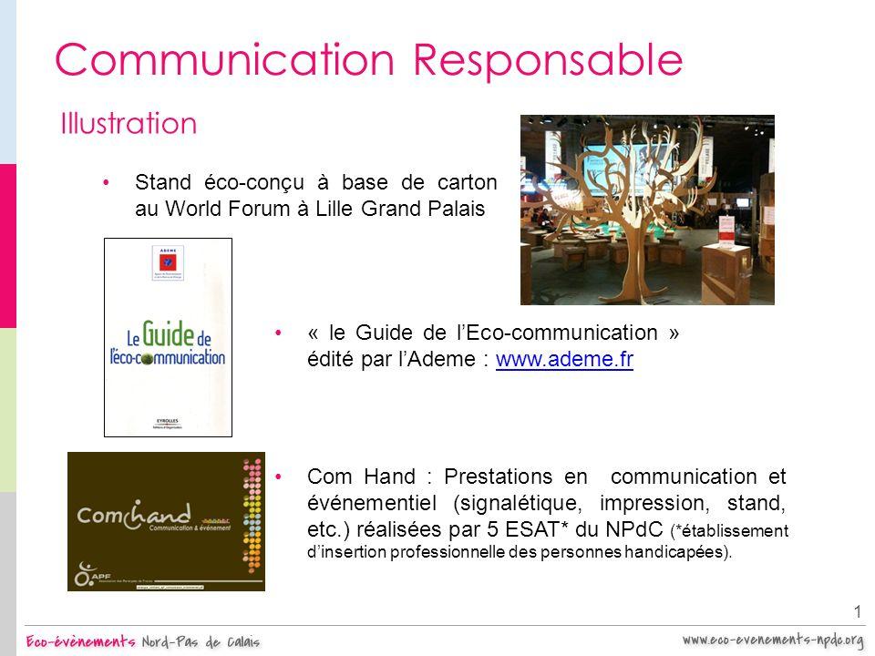 Communication Responsable 1 Illustration Stand éco-conçu à base de carton au World Forum à Lille Grand Palais « le Guide de lEco-communication » édité