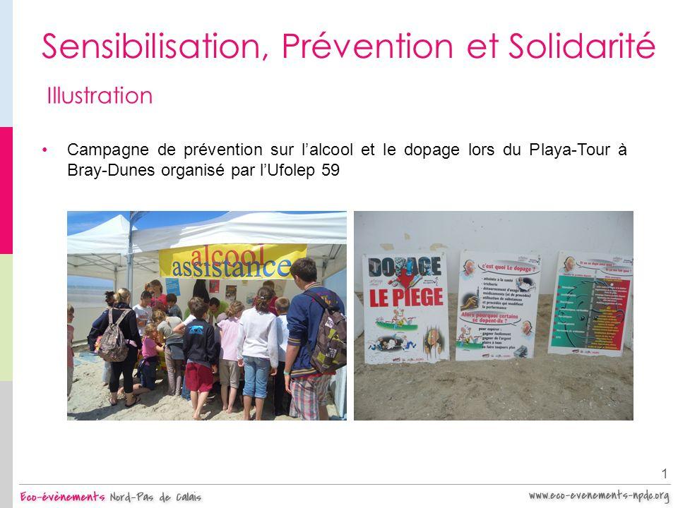 Sensibilisation, Prévention et Solidarité 1 Illustration Campagne de prévention sur lalcool et le dopage lors du Playa-Tour à Bray-Dunes organisé par