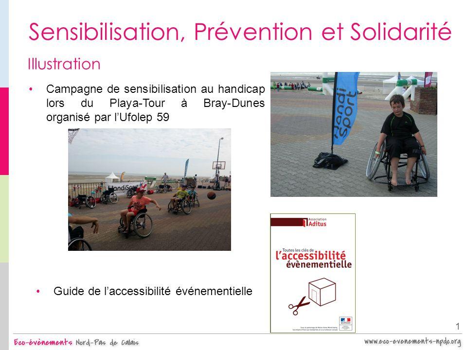 Sensibilisation, Prévention et Solidarité 1 Illustration Campagne de sensibilisation au handicap lors du Playa-Tour à Bray-Dunes organisé par lUfolep