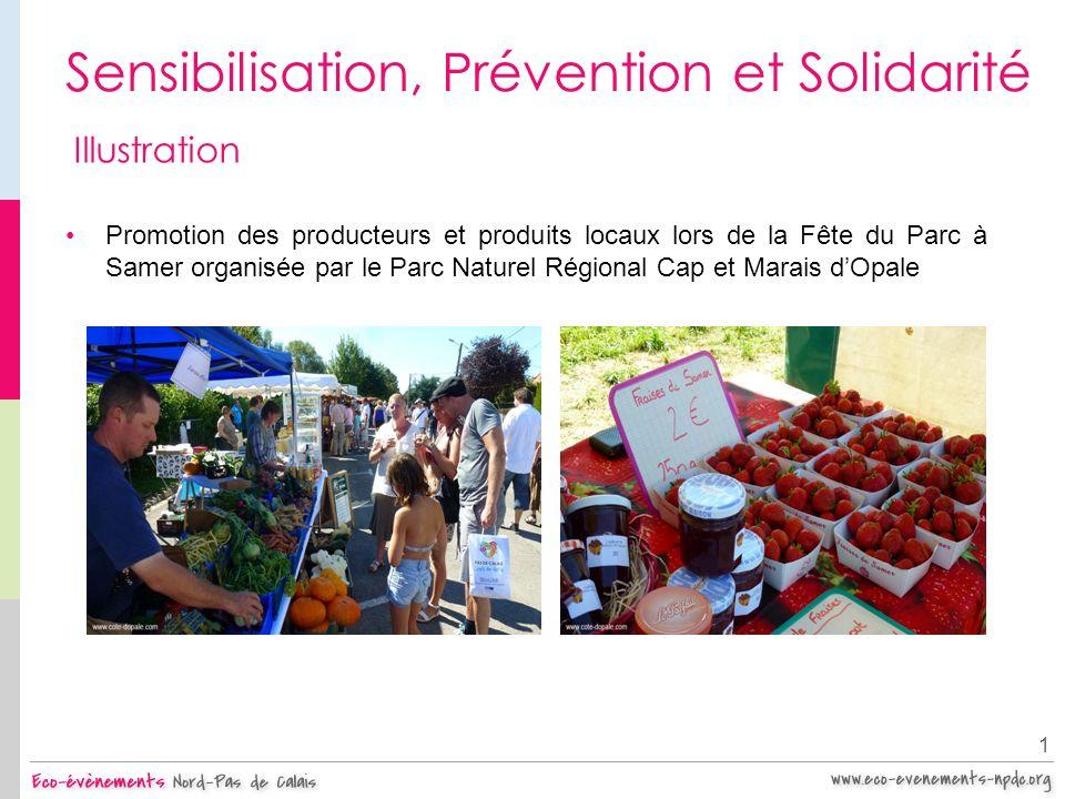 Sensibilisation, Prévention et Solidarité 1 Illustration Promotion des producteurs et produits locaux lors de la Fête du Parc à Samer organisée par le