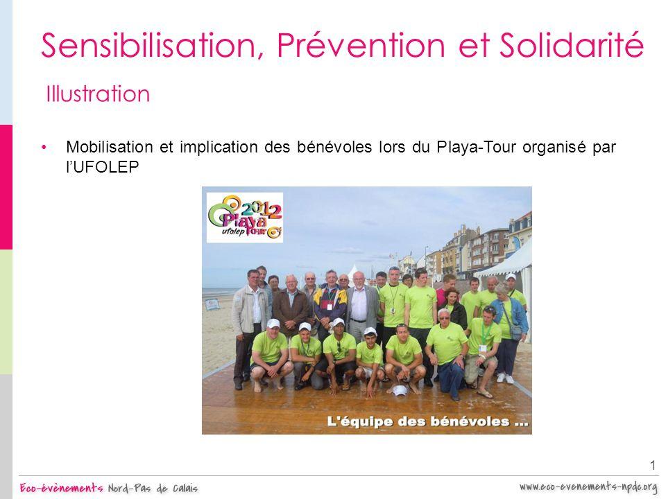 Sensibilisation, Prévention et Solidarité 1 Illustration Mobilisation et implication des bénévoles lors du Playa-Tour organisé par lUFOLEP