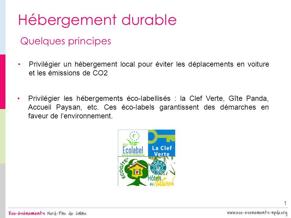 Hébergement durable 1 Quelques principes Privilégier un hébergement local pour éviter les déplacements en voiture et les émissions de CO2 Privilégier