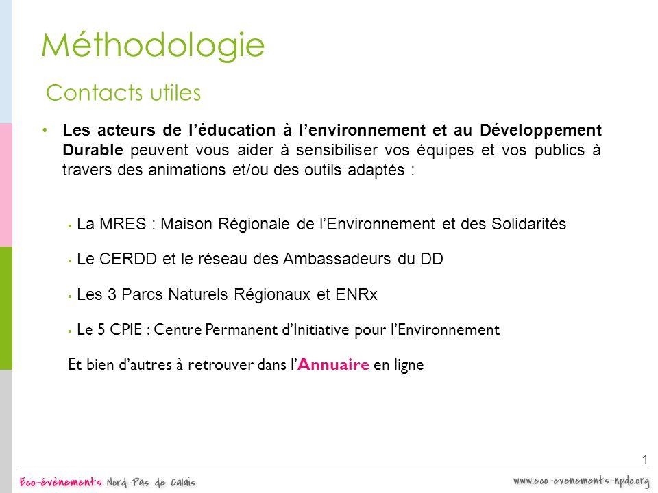 Méthodologie Les acteurs de léducation à lenvironnement et au Développement Durable peuvent vous aider à sensibiliser vos équipes et vos publics à tra