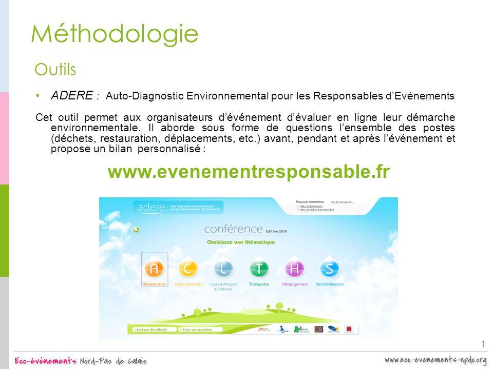 Méthodologie 1 Outils ADERE : Auto-Diagnostic Environnemental pour les Responsables dEvénements Cet outil permet aux organisateurs dévénement dévaluer