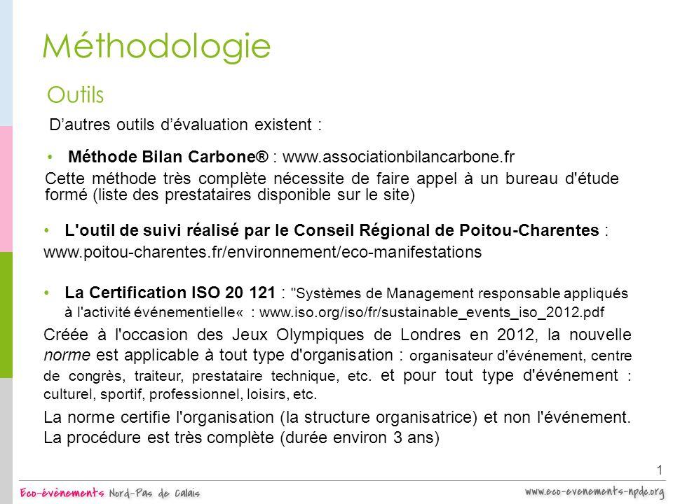 Méthodologie 1 Outils Méthode Bilan Carbone® : www.associationbilancarbone.fr Cette méthode très complète nécessite de faire appel à un bureau d'étude