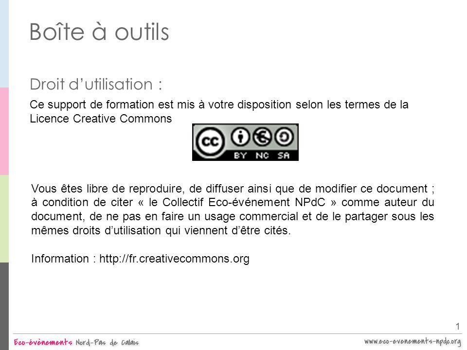 Boîte à outils Droit dutilisation : Ce support de formation est mis à votre disposition selon les termes de la Licence Creative Commons Vous êtes libr