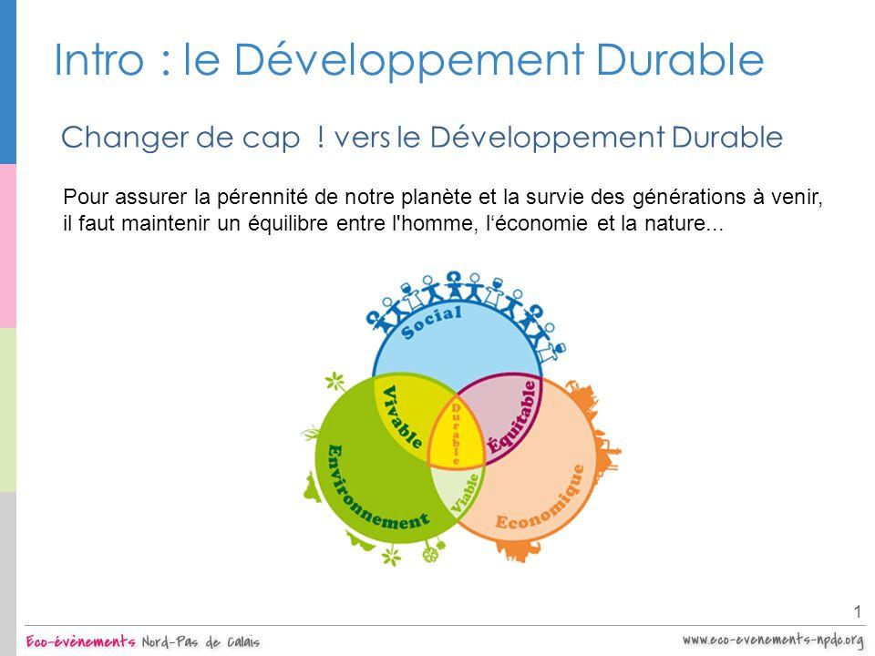 Intro : le Développement Durable 1 Une préoccupation internationale Années 60 : multiplication de catastrophes : marées noires, pluies acides, etc.