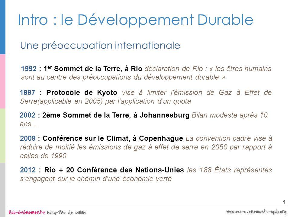Intro : le Développement Durable 1 Une multitude dinitiatives à tous les niveaux le Gouvernement : Création dun Ministère de lEnvironnement (1991), Charte de lEnvironnement (2005), Grenelle de lEnvironnement (2007), Taxe Carbone (2010) les communes et collectivités territoriales : Agenda 21 (937 Agenda 21 en France), Plan Climat Energie, etc.