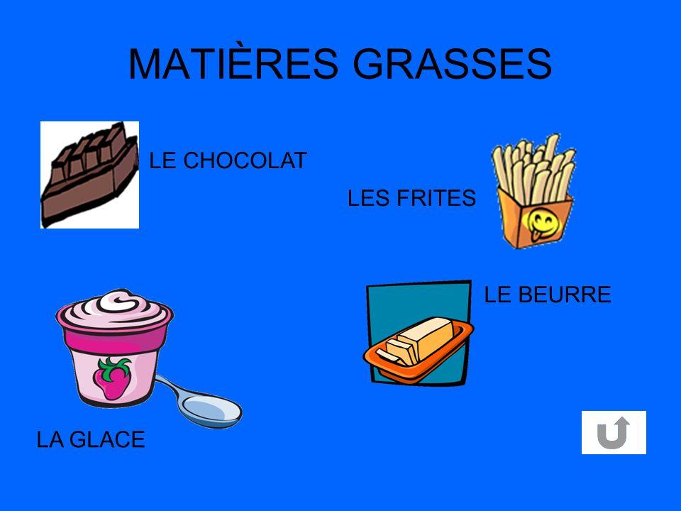 MATIÈRES GRASSES LA GLACE LE BEURRE LES FRITES LE CHOCOLAT