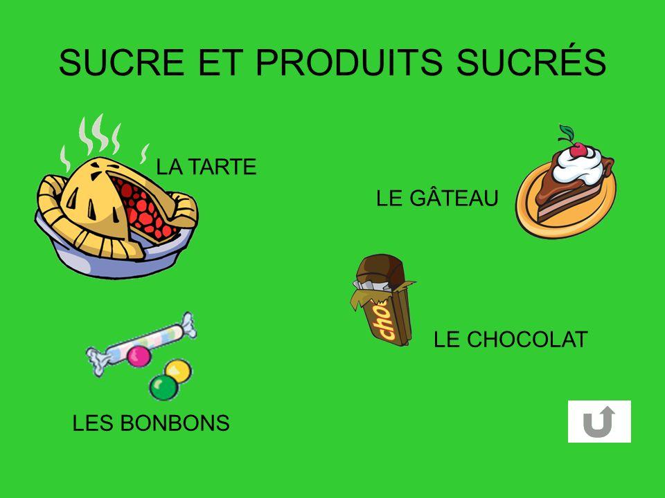 SUCRE ET PRODUITS SUCRÉS LE CHOCOLAT LE GÂTEAU LES BONBONS LA TARTE