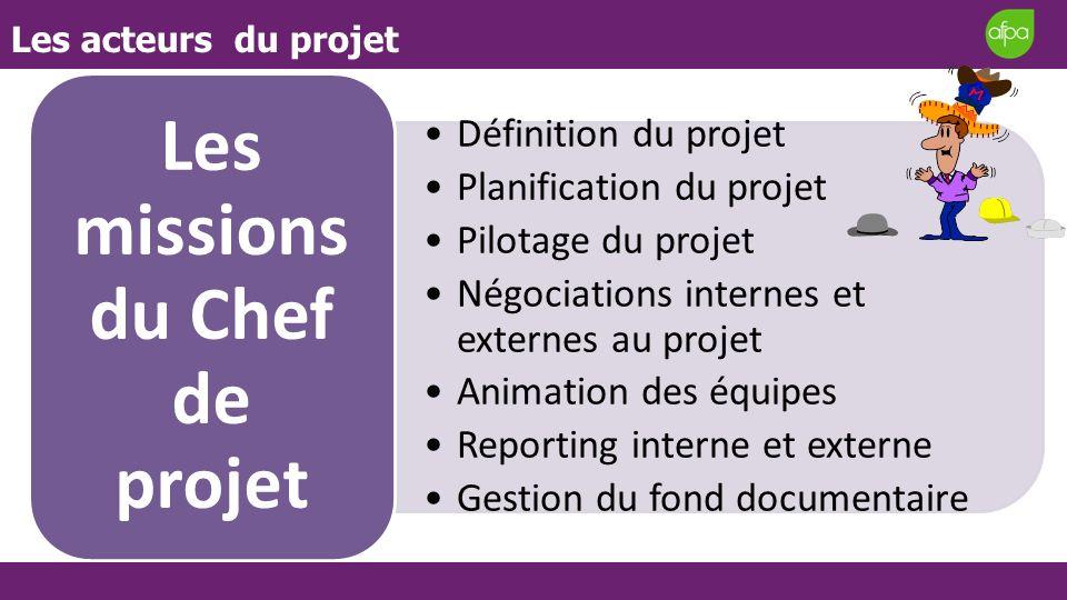 Les acteurs du projet Définition du projet Planification du projet Pilotage du projet Négociations internes et externes au projet Animation des équipe