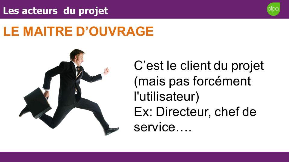 Les acteurs du projet LE MAITRE DOUVRAGE Cest le client du projet (mais pas forcément l'utilisateur) Ex: Directeur, chef de service….