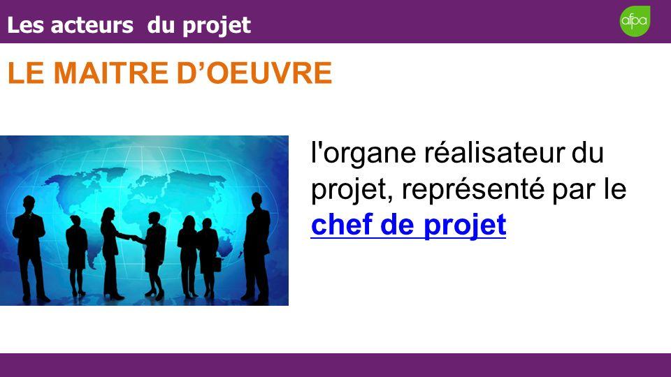 Les acteurs du projet LE MAITRE DOEUVRE l'organe réalisateur du projet, représenté par le chef de projet chef de projet