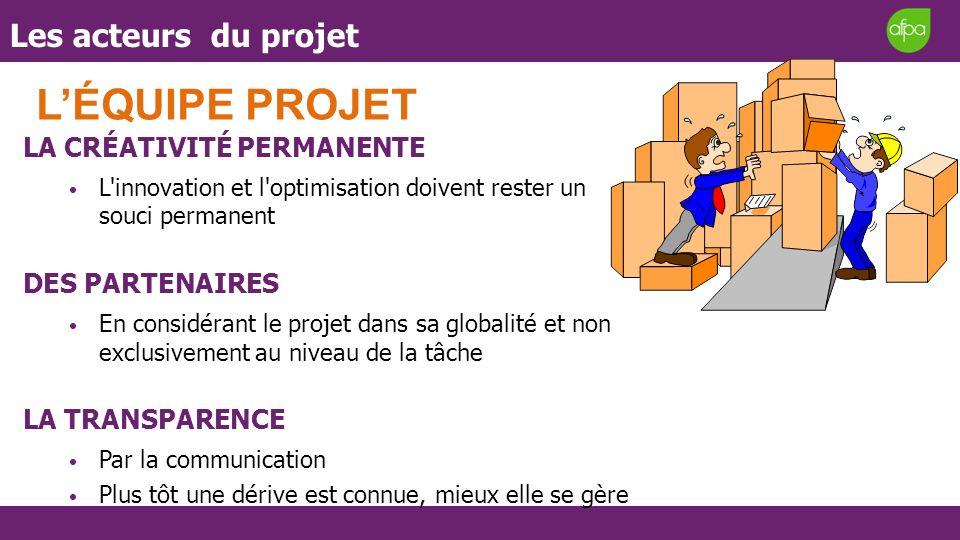 Les acteurs du projet LÉQUIPE PROJET LA CRÉATIVITÉ PERMANENTE L'innovation et l'optimisation doivent rester un souci permanent DES PARTENAIRES En cons