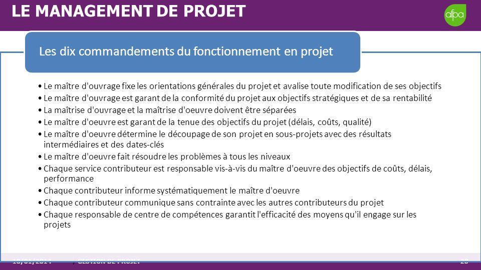 10/01/2014/ GESTION DE PROJET28 LE MANAGEMENT DE PROJET Le maître d'ouvrage fixe les orientations générales du projet et avalise toute modification de
