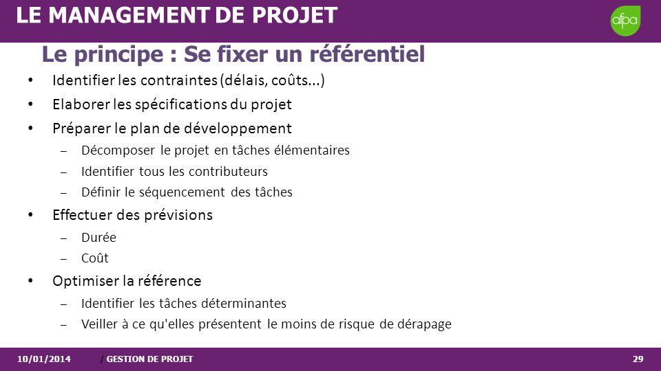 10/01/2014/ GESTION DE PROJET29 LE MANAGEMENT DE PROJET Identifier les contraintes (délais, coûts...) Elaborer les spécifications du projet Préparer l