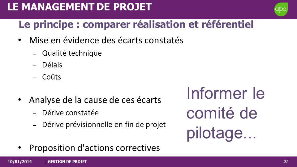 10/01/2014/ GESTION DE PROJET31 LE MANAGEMENT DE PROJET Le principe : comparer réalisation et référentiel Mise en évidence des écarts constatés – Qual