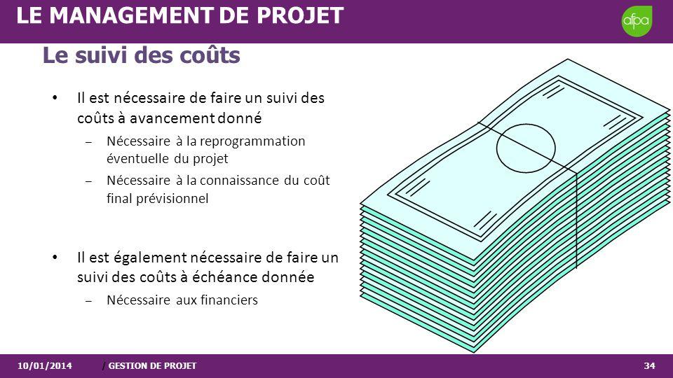 10/01/2014/ GESTION DE PROJET34 LE MANAGEMENT DE PROJET Le suivi des coûts Il est nécessaire de faire un suivi des coûts à avancement donné – Nécessai