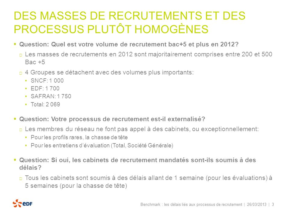 | 3 DES MASSES DE RECRUTEMENTS ET DES PROCESSUS PLUTÔT HOMOGÈNES Question: Quel est votre volume de recrutement bac+5 et plus en 2012? Les masses de r