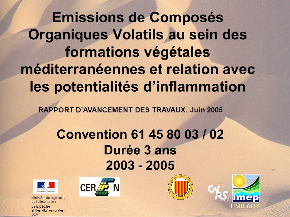 Emissions de Composés Organiques Volatils au sein des formations végétales méditerranéennes et relation avec les potentialités dinflammation UMR 6116