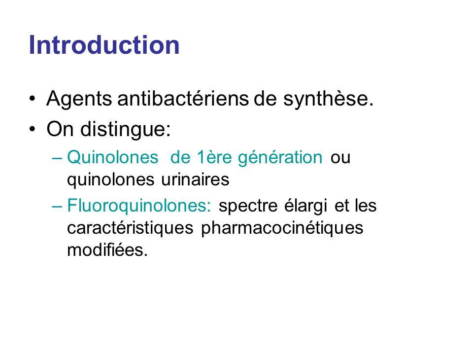 Introduction Agents antibactériens de synthèse. On distingue: –Quinolones de 1ère génération ou quinolones urinaires –Fluoroquinolones: spectre élargi