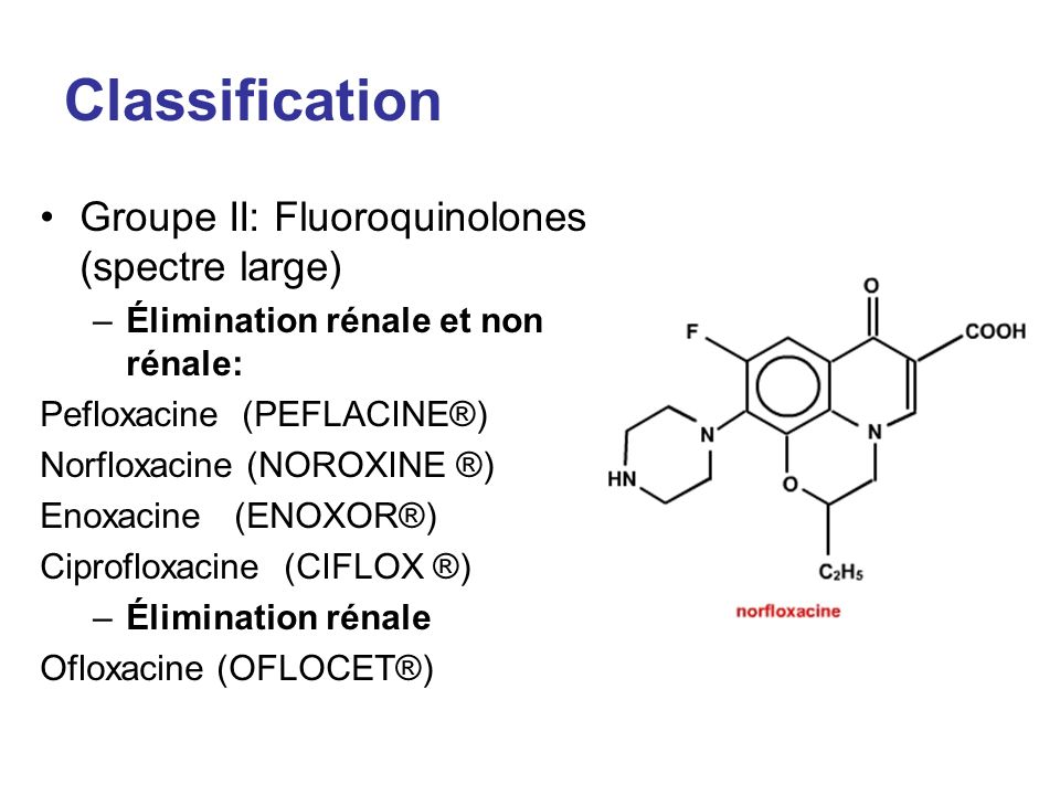 Classification Groupe II: Fluoroquinolones (spectre large) –Élimination rénale et non rénale: Pefloxacine (PEFLACINE®) Norfloxacine (NOROXINE ®) Enoxa