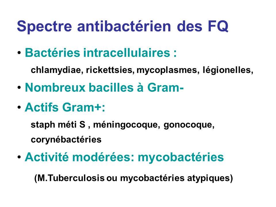Spectre antibactérien des FQ Bactéries intracellulaires : chlamydiae, rickettsies, mycoplasmes, légionelles, Nombreux bacilles à Gram- Actifs Gram+: s
